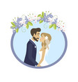 wedding photo man and woman in round frame vector image vector image