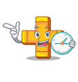 with clock cartoon plus sign logo concept health vector image