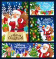 xmas banners santa elf and reindeer with gifts vector image vector image