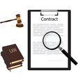 Contract gavel and law book vector image