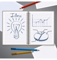 Notebook with pencil drawing chart and lightbulb vector image