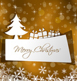 paper Christmas card with gift in gold background vector image
