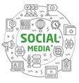 social media linear slide for the vector image
