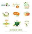 Vegan cafe logo elements on white background vector image