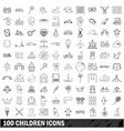 100 children icons set outline style vector image vector image