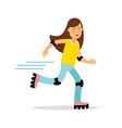 active girl roller skating cartoon character kids vector image vector image