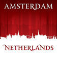 Amsterdam Netherlands city skyline silhouette vector image vector image