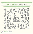 ayurvedic supplies icons vector image vector image
