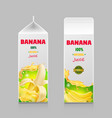 banana juice packaging pack realistic design vector image vector image