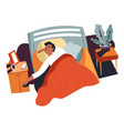 boy sleeping in bed resting teenage at home vector image vector image