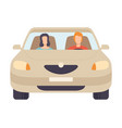 car with driver and passenger front view vector image vector image