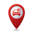 car with fast food icon on red pointer vector image vector image