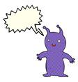 cartoon happy little alien with speech bubble vector image vector image