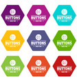clothes button dressmaking icons set 9 vector image vector image