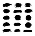 collection of black paint ink brush strokes vector image