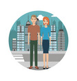 couple lifestyle together urban background vector image vector image