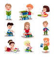 cute smart kids reading books set of vector image vector image