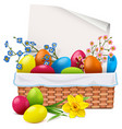 easter basket with greeting card vector image