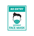 face mask signage template isolated vector image vector image