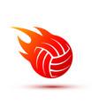 fire ball logo design fiery volleyball vector image vector image
