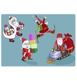 Four Santa on skis a snowmobile with gifts vector image vector image