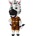 funny white black zebra in brown uniform cartoon vector image vector image