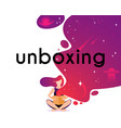 girl open box in flat style cartoon character vector image vector image