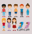 group of kids friends characters vector image