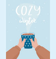 hand drawn cocoa cup and lettering cozy winter vector image