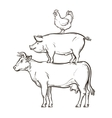 hand drawn cow pig chicken vector image vector image