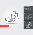 hand washing with soap line icon with editable vector image vector image
