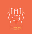 hands holding clay pottery vector image vector image