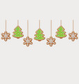 hanging gingerbread snowflakes and christmas trees vector image vector image