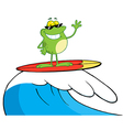 Happy Frog While Surfing vector image vector image