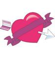 heart pierced an arrow heart and arrow love vector image vector image