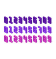 isometric purple numbers made 3d cubes signs vector image