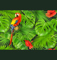 jungle leaves and parrot seamless pattern 3d vector image