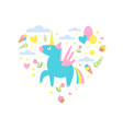 magic unicorn with clouds and ice creams heart vector image vector image