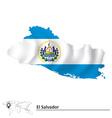 Map of El Salvador with flag vector image vector image