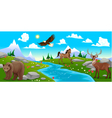 Mountain landscape with river and animals vector image vector image