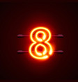 neon city font sign number 8 signboard eight vector image vector image