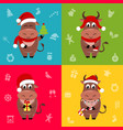 new year ox bull cartoon character in santa vector image vector image