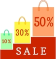 Paper bags with the discount percentage vector image vector image