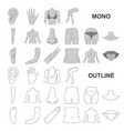 part of the body limb monochrom icons in set vector image vector image
