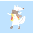 Polar White Fox In Vest And Scarf Arctic Animal vector image vector image
