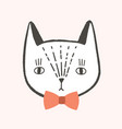 pretty face or head cat with elegant bow tie vector image vector image