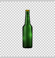 realistic green glass beer bottle isolated object vector image vector image