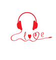 Red headphones White background Love card vector image vector image