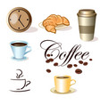 set of coffee cups clock and croissant vector image vector image