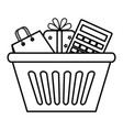 shopping basket with gift and calculator vector image